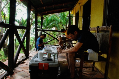 Making specimens with José Luis Herrera and Liam Revell - Barahona, Dominican Republic (photo by Bryan Falk)