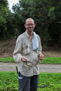 Anthony Herrel with Chironius flavopictus - Rio Palenque, Ecuador